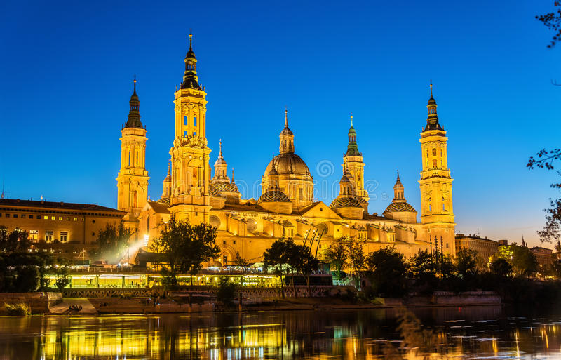 The Cathedral-Basilica of Nuestra Senora del Pilar in Zaragoza - Spain stock photography