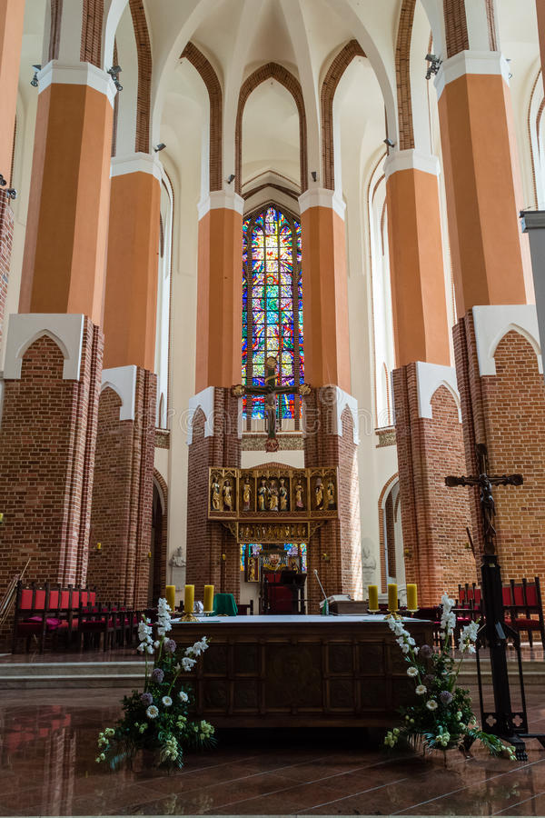Cathedral Basilica of St. James the Apostle, Szczecin - Altar A. POLAND, SZCZECIN - 30 JUN 2015: Cathedral Basilica of St. James the Apostle, Szczecin - Altar A royalty free stock photos