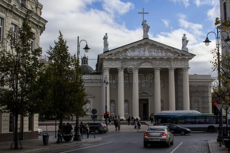 The Cathedral Basilica of St Stanislaus and St Ladislaus of Vilnius . Lithuania stock photo