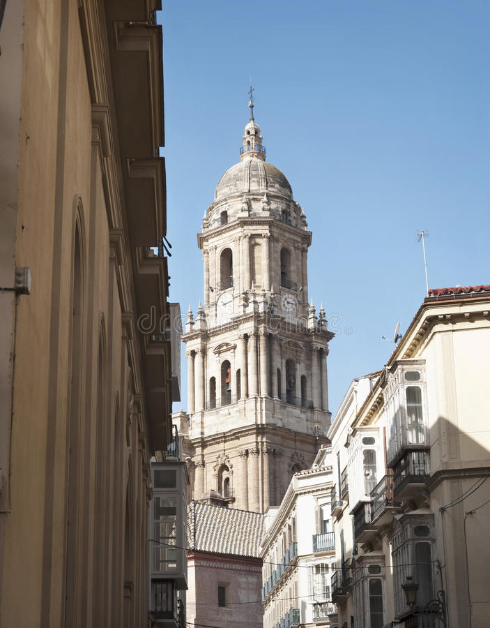 Cathedral . Cathedral bell Malaga with blue sky stock photo