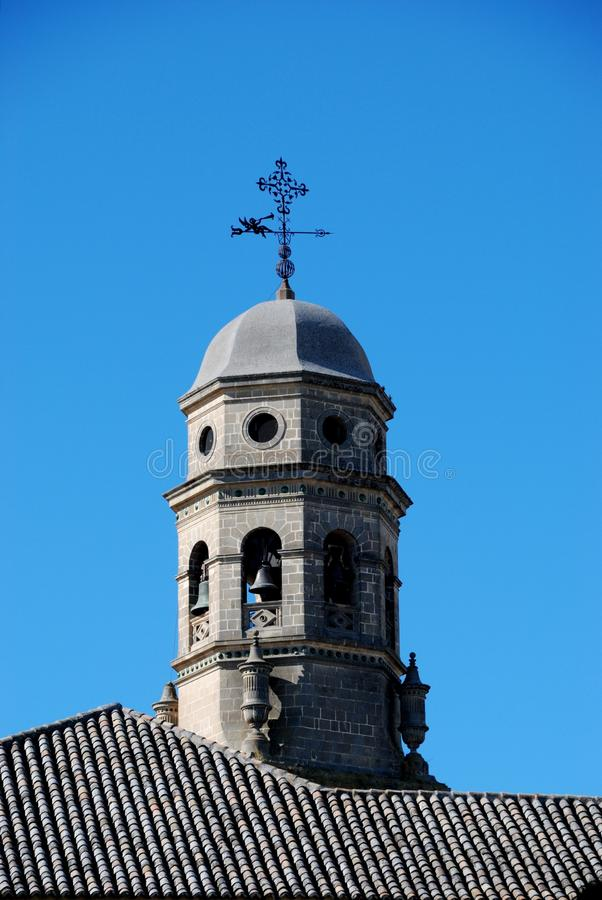 Cathedral bell tower, Baeza, Spain. stock images