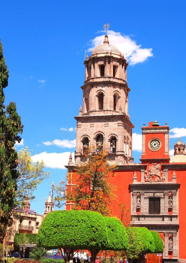 Cathedral in Santiago de Queretaro, Mexico. Cathedral and belltower in Santiago de Queretaro, Mexico, North America. Summer day stock images