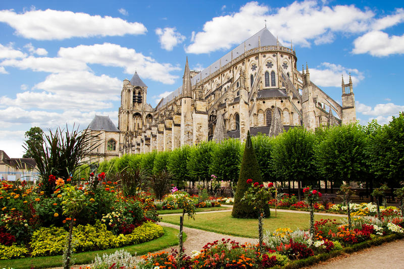 Cathedral in Bourges, beautiful garden, France royalty free stock photo