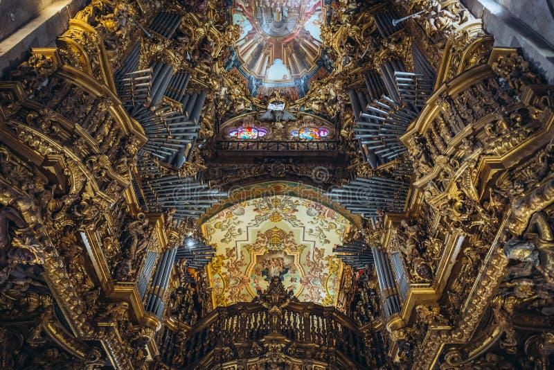 Cathedral of Braga. Organ in Se Cathedral of Braga city, Norte region of Portugal stock photos