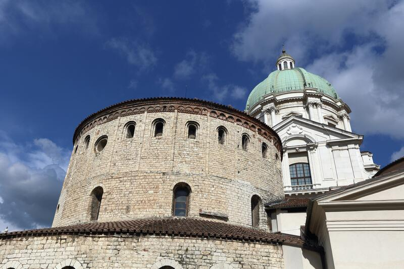 Old and new Cathedral of Brescia royalty free stock photography