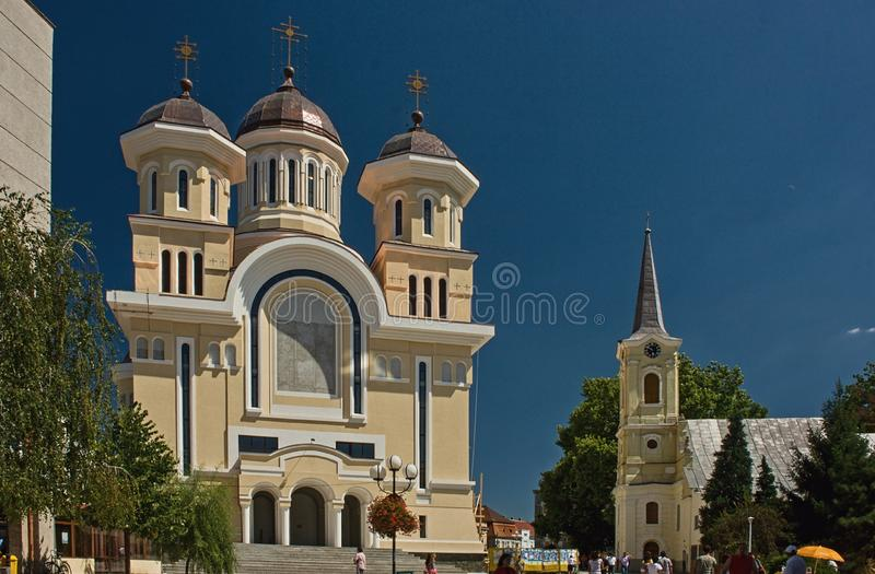Cathedral in Caransebes - Romania. Repair of the Caransebes Cathedral in 2008 year Caransebes is a city in Caras-Severin County, part of the Banat region in royalty free stock photography