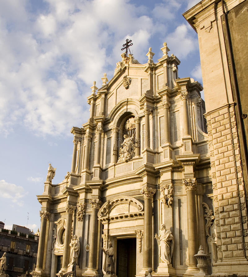 Cathedral, Catania. Facade of the cathedral of Catania royalty free stock image