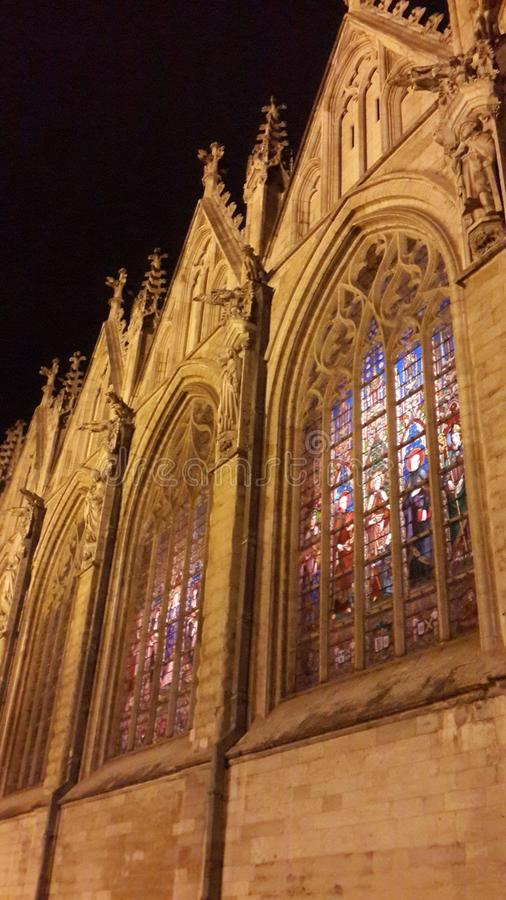 Download Cathedral stock photo. Image of stained, windows, night - 109658936