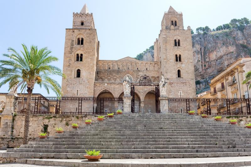 The Cathedral of Cefalu Duomo di Cefalu, Sicily, Italy royalty free stock photos