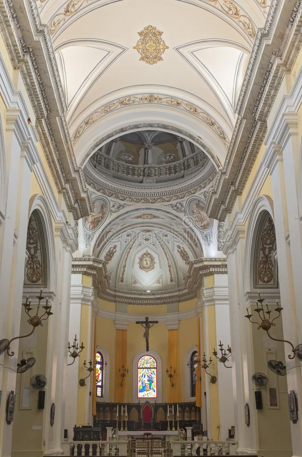 Cathedral Central Nave and Apse in San Juan. Interior of landmark basilica central nave and apse in old san juan puerto rico royalty free stock images