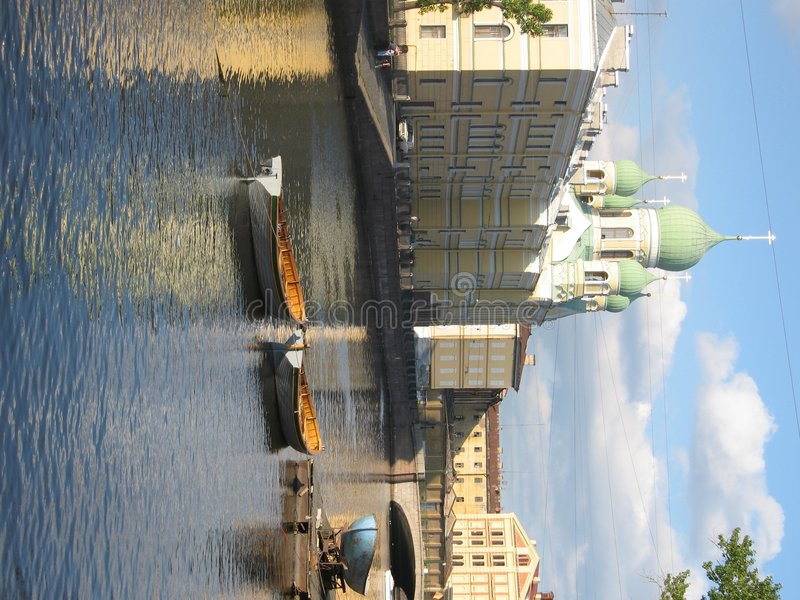 Cathedral on channel, St. Petersburg, Russia stock photo