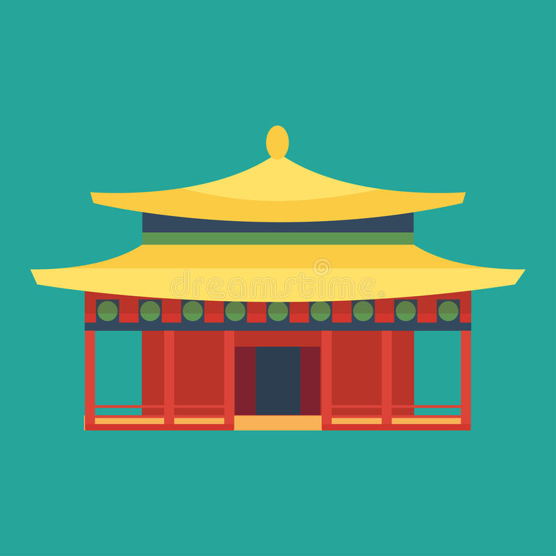 Cathedral chinese churche temple building landmark tourism world religions and famous structure traditional city ancient. Old tower vector illustration royalty free illustration