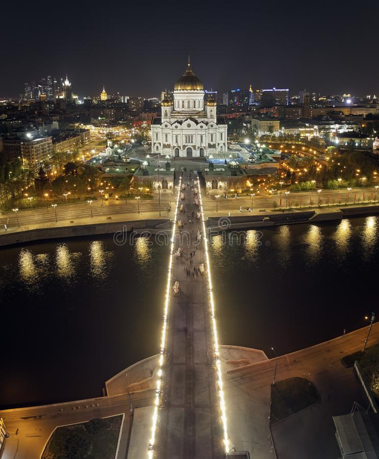Cathedral of Christ the Savior in Moscow near river, Russia at night. Aerial drone view royalty free stock photos