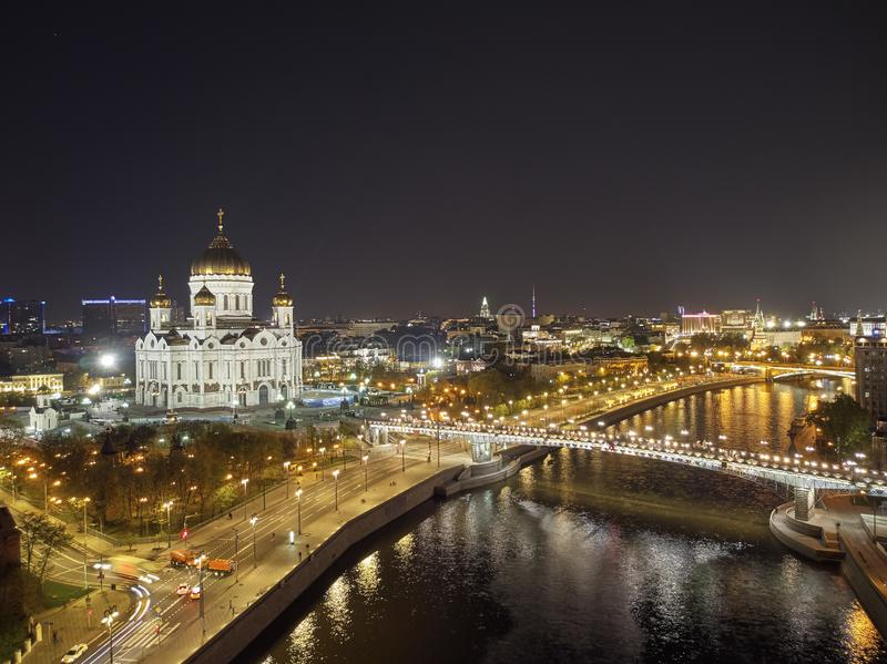 Cathedral of Christ the Savior in Moscow near river, Russia at night. Aerial drone view royalty free stock photo