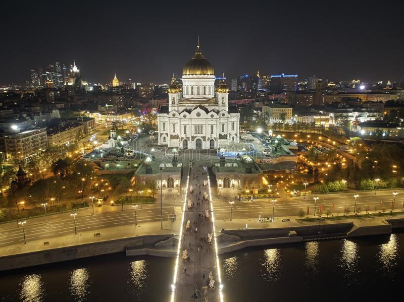 Cathedral of Christ the Savior in Moscow near river, Russia at night. Aerial drone view royalty free stock photography