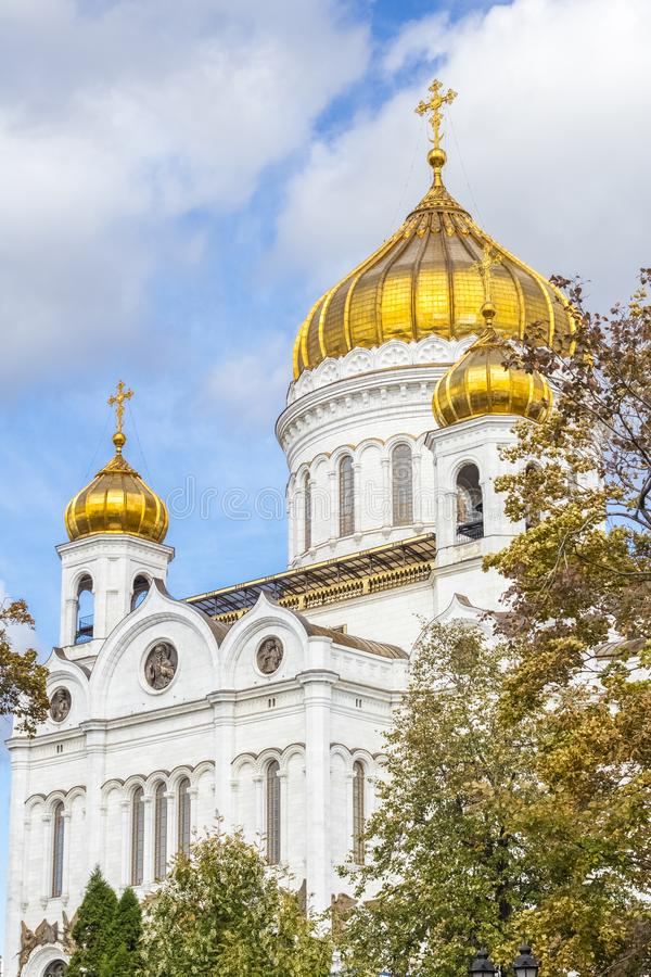 Cathedral of Christ the Savior in Moscow, Russia, the largest Orthodox church. Sunny day in autumn stock photo