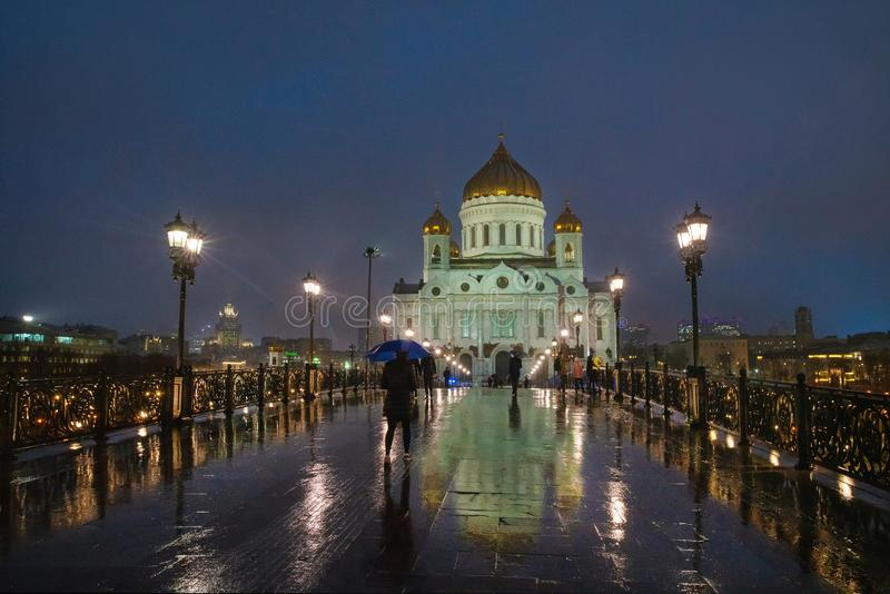 Cathedral of Christ the Savior at night stock images