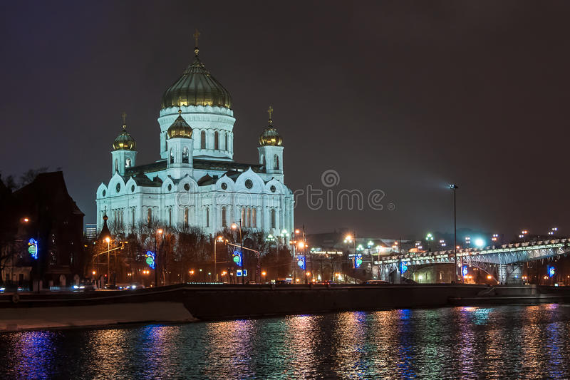 Cathedral of Christ the Savior by night, Moscow. Russia royalty free stock photography