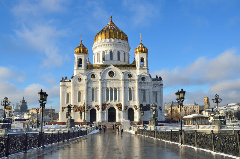 The Cathedral of Christ the Savior, the Patriarchal bridge, Moscow. Russia stock image