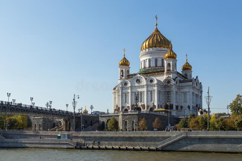The Cathedral of Christ the Savior, Russian Orthodox cathedral in Moscow, Russia. royalty free stock photography