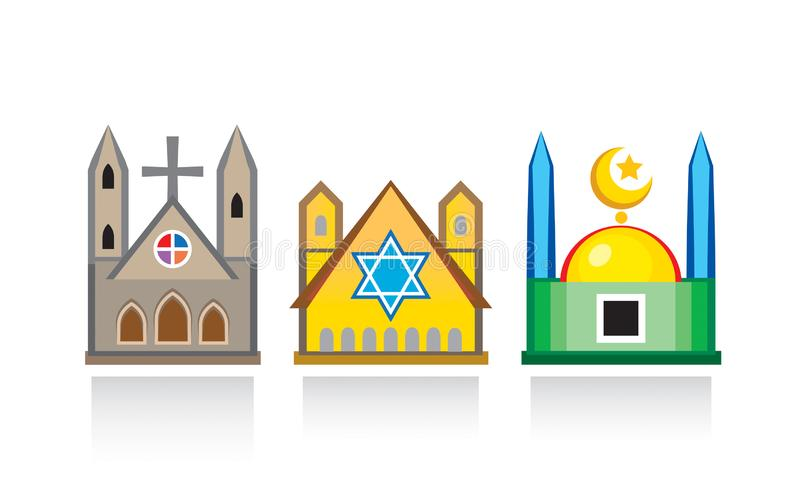 Cathedral church, Jewish synagogue, Islamic mosque. Religious temples, architectural structures royalty free illustration