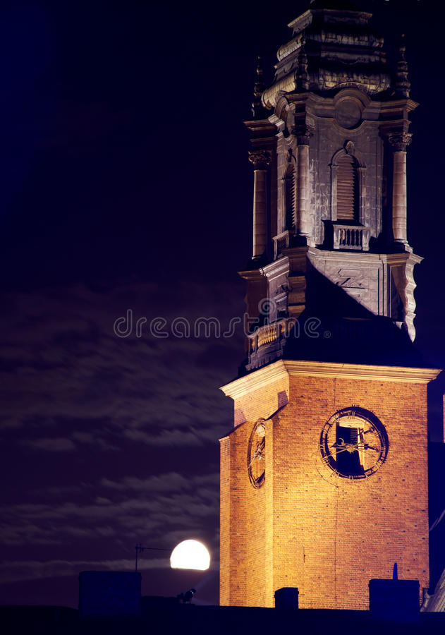 Download Cathedral Church In Poznan At Night With Moon Stock Image - Image: 20741817
