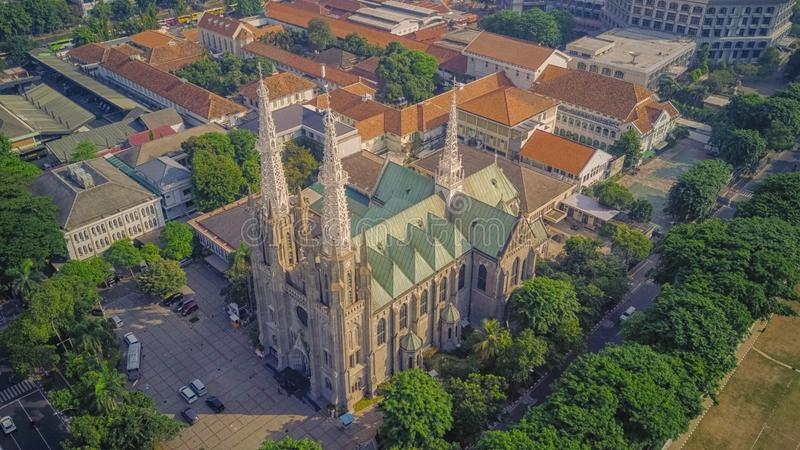 Cathedral Church from the top, Jakarta. Indonesia. Cathedral is a historical building in Jakarta, Indonesia stock images