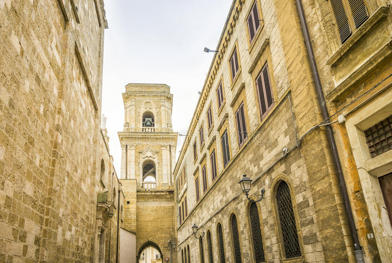 Cathedral in city center of Brindisi, Italy. Bell tower of Cathedral in city center of Brindisi, Puglia, Italy stock photo