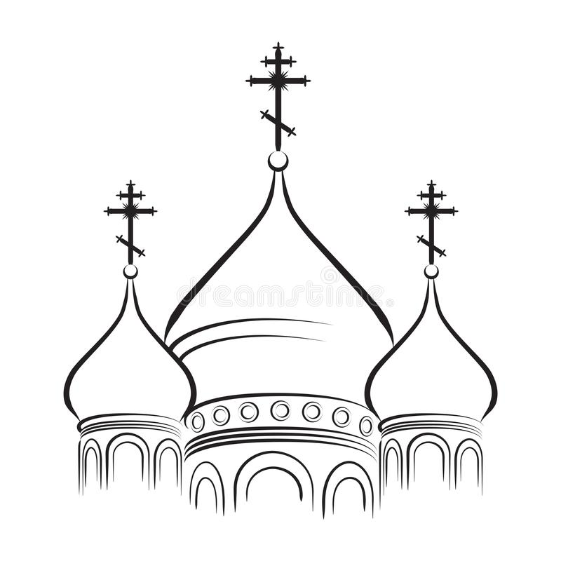 The Domes of Orthodox Cathedral. The Cathedral Cupola. Bulbous Domes of the Orthodox Cathedral. The onion-shaped domes of the Orthodox temple. (Outline royalty free illustration