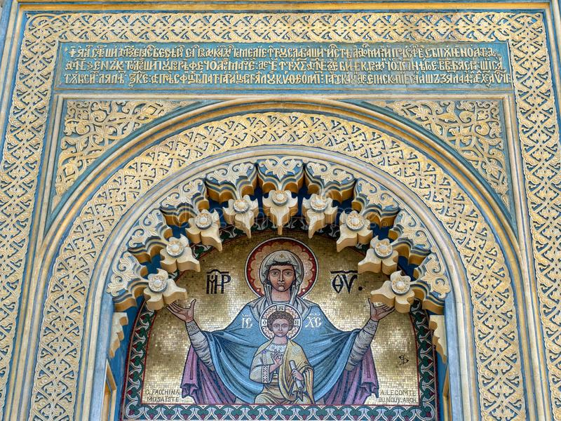 Entrance detail of Curtea de Arges cathedral, Romania stock photo