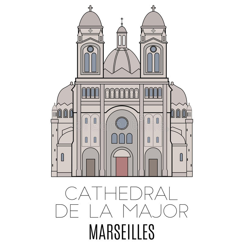 Cathedral De La Major, Marseille illustration de vecteur