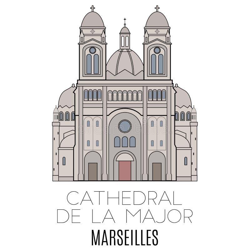Cathedral De La Major, Marsella ilustración del vector