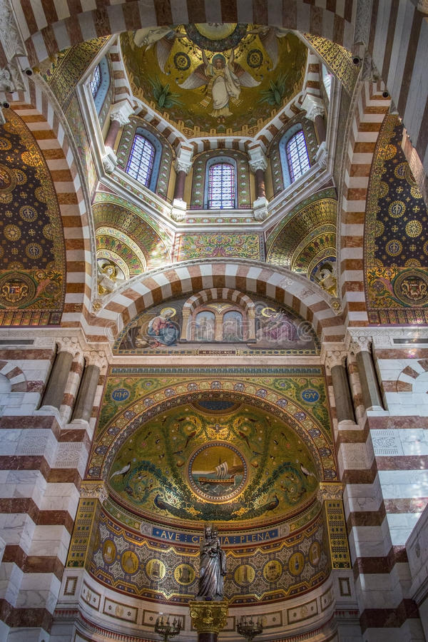 Cathedral de Notre-Dame - Marseille - France stock photo