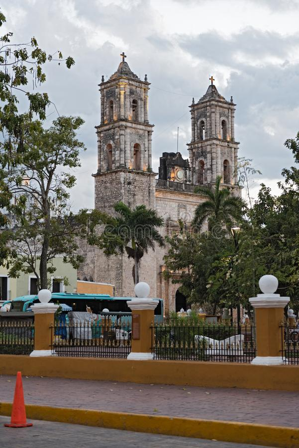 Cathedral de san gervasio in the old town of valladolid, yucatan stock photos
