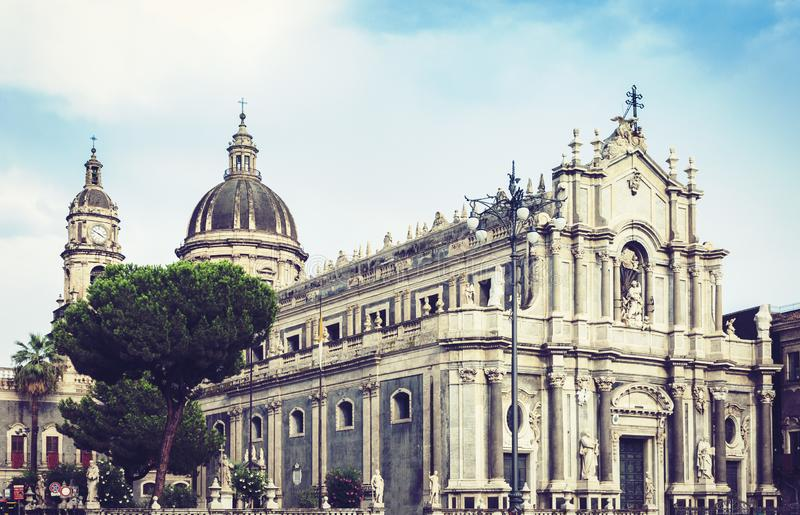Cathedral dedicated to Saint Agatha. The view of the city of Catania, Sicily, Italy.  royalty free stock photos