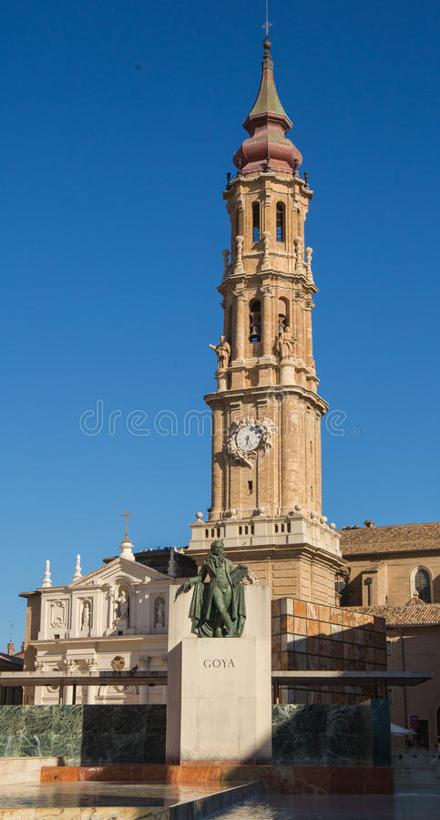 Cathedral del Salvador with Goya statue. royalty free stock photos