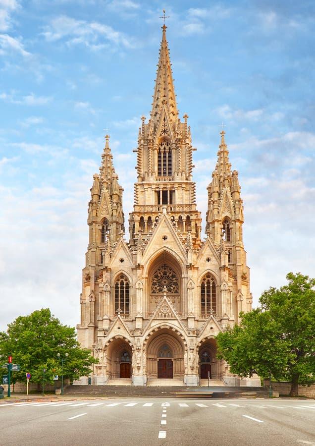 Cathedral di Notre Dame du Sablon a Bruxelles, Belgio fotografia stock libera da diritti