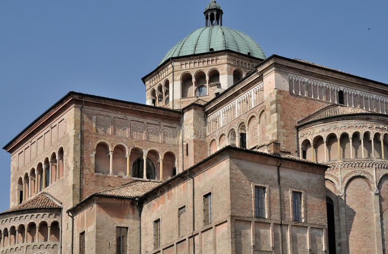 Cathedral dome, parma. Detail of dome and loggia on romanic church in parma city center stock photos