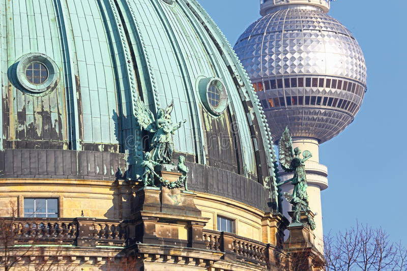Cathedral dome & sphere of TV tower, Berlin royalty free stock photo