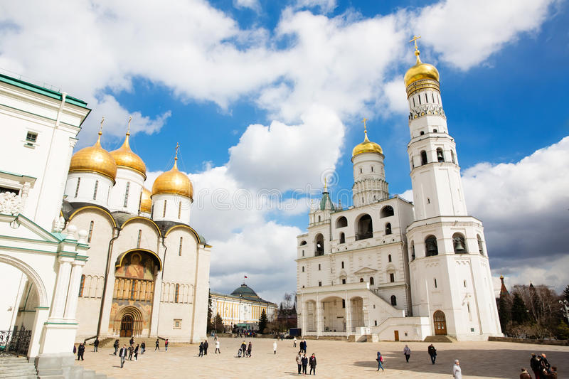 The Cathedral of the Dormition and Ivan the Great Bell Tower in the Moscow Kremlin stock photo