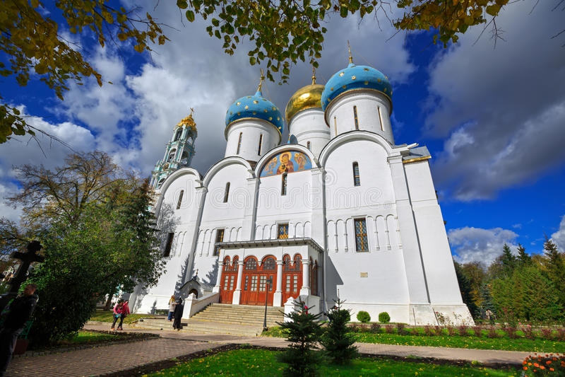 Cathedral of the Dormition in Trinity Lavra of St. Sergius in Sergiev Posad, Russia. stock photo