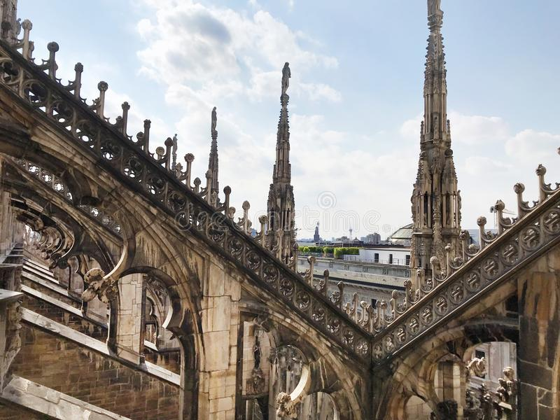 Roof with Statues on Cathedral Duomo di Milano royalty free stock photo