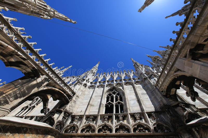 Cathedral of Duomo, gothic spires background royalty free stock photos