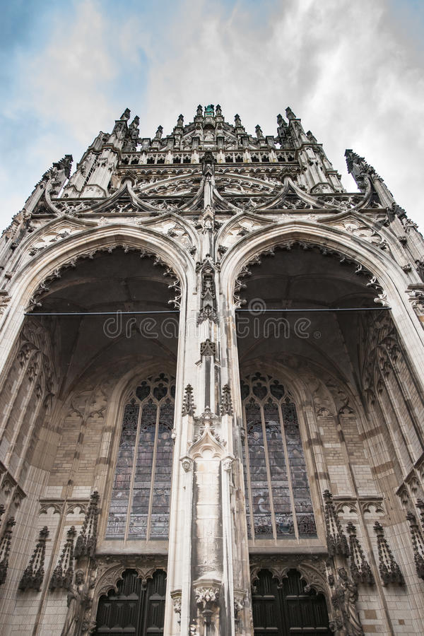 Cathedral in the Dutch city of Den Bosch. Netherlands. Detail of the entrance gate in St. John`s Cathedral Den Bosch, the Netherlands royalty free stock photography