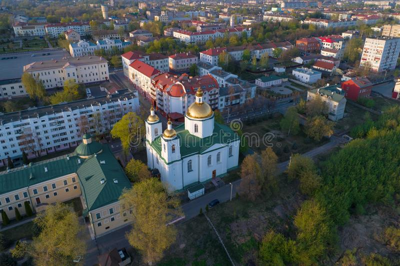 The Cathedral of the Epiphany in the cityscape aerial photography. Polotsk, Belarus. The Cathedral of the Epiphany in the cityscape on a sunny April morning stock image