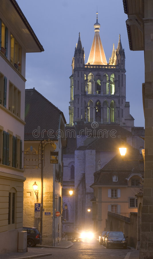 Cathedral in the evening royalty free stock photos