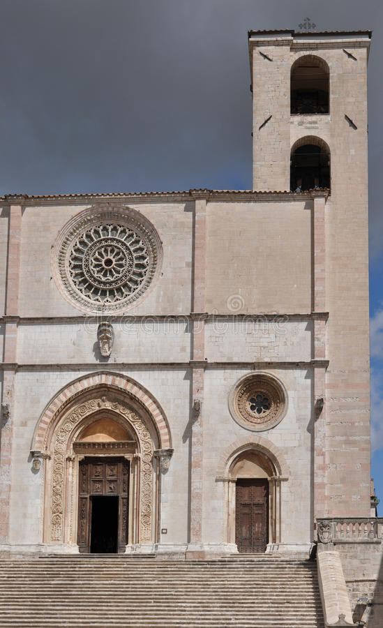 Cathedral facade, todi. Detail of the marble romanesque facade shot in sunny summer weather stock image
