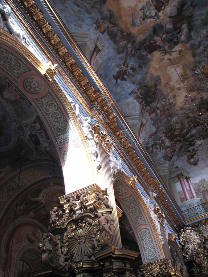 Cathedral frescoes on the walls stucco royalty free stock photos