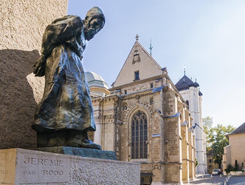 Cathedral in geneva stock photos