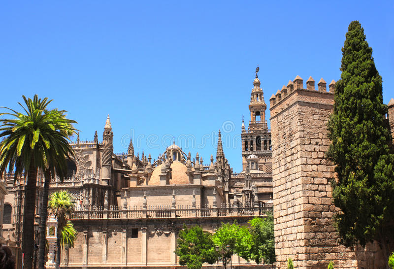 Cathedral and Giralda Tower of Seville, Spain stock images